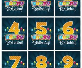 Happy Birthday Number card vector