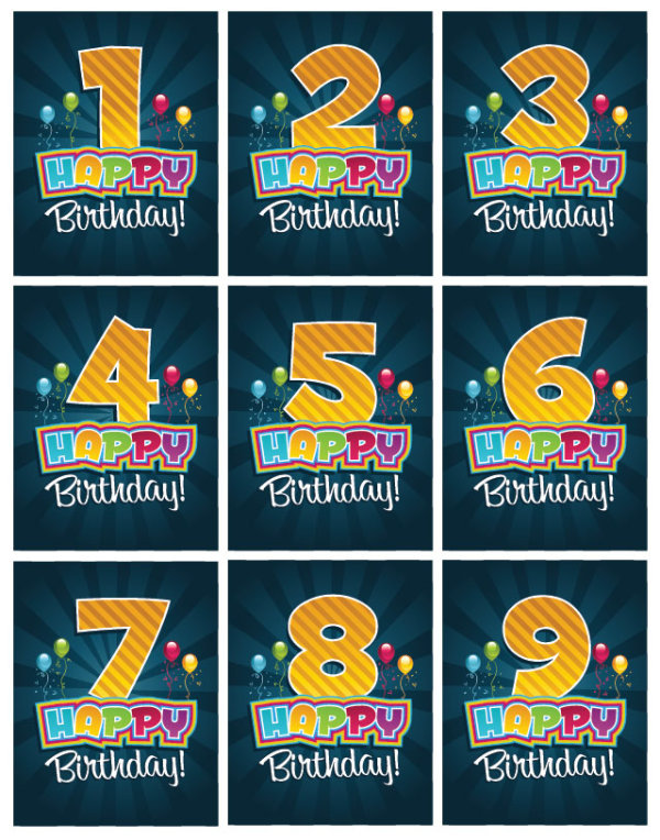 Happy Birthday Number card vector