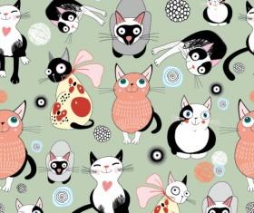Funny cartoon cat design elements vector 01