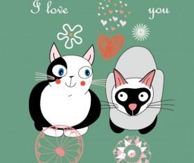 Funny cartoon cat design elements vector 03