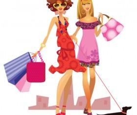 Set of Shopping Girl design vector material 03
