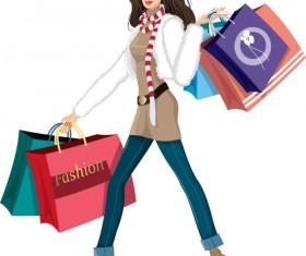 Set of Shopping Girl design vector material 04