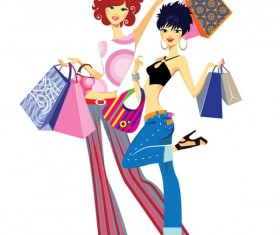 Set of Shopping Girl design vector material 05