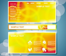 Yellow style website theme template vector 01