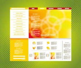 Yellow style website theme template vector 02