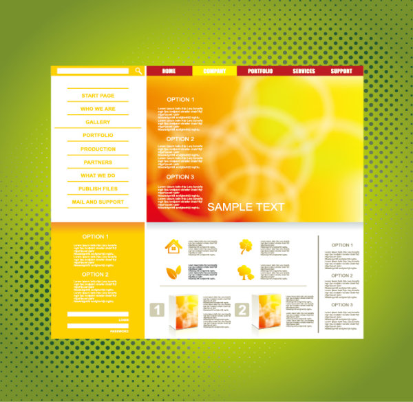 Yellow Style Website Theme Template Vector 02 Over