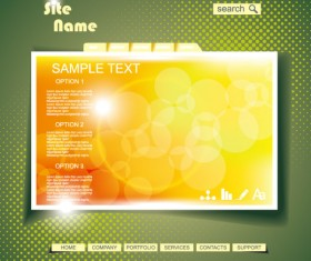 Yellow style website theme template vector 03