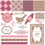 Link toVintage pattern ,lace,label and frames decor vector collection 01