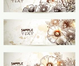 Retro Hand drawn flower banner vector graphic