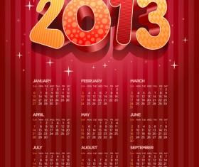 Elements 2013 Calendar design vector graphics 02