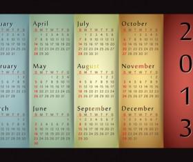 Elements 2013 Calendar design vector graphics 03