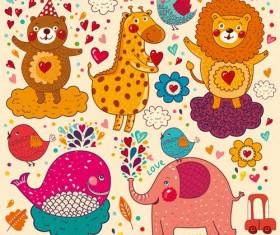 Different hand draw animals design vector set 02