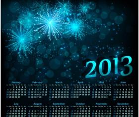 Sparkling Black style Calendars 2013 vector 01