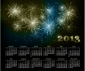 Sparkling Black style Calendars 2013 vector 02