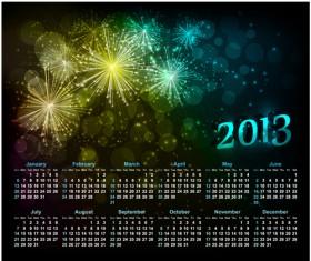 Sparkling Black style Calendars 2013 vector 03