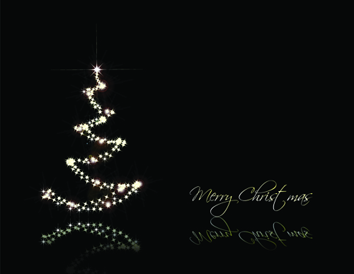 Black style Merry Christmas Cards vector 01