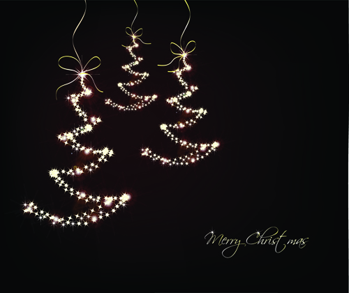 Black style Merry Christmas Cards vector 02