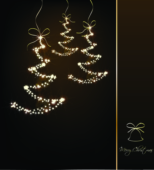Black style Merry Christmas Cards vector 03