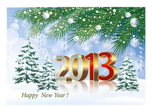 Free ai eps file bright 2013 new year design vector material 02