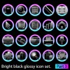Set of Bright black glossy icon vector 01
