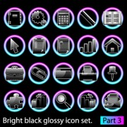 Link toSet of bright black glossy icon vector 01