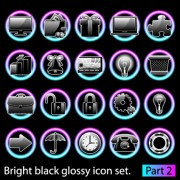 Link toSet of bright black glossy icon vector 02