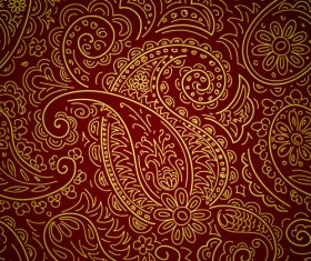 Set of Brown Paisley patterns vector material 02