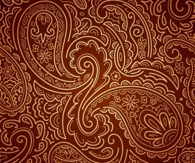 Set of Brown Paisley patterns vector material 03