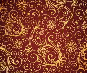 Set of Brown Paisley patterns vector material 05