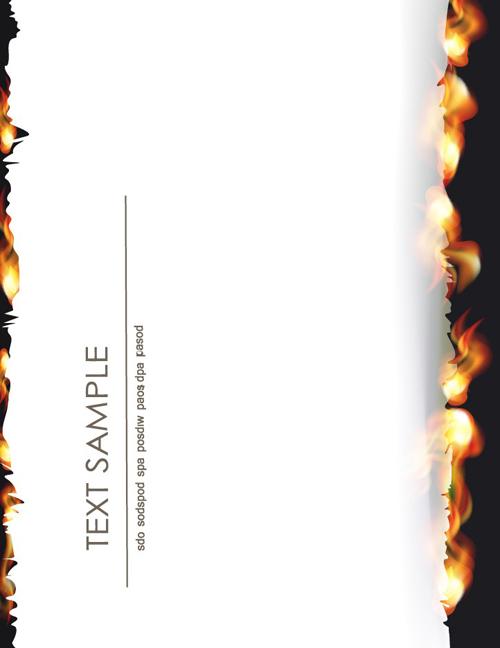 Set of Burning paper backgrounds vector 04