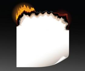 Set of Burning paper vector art 02