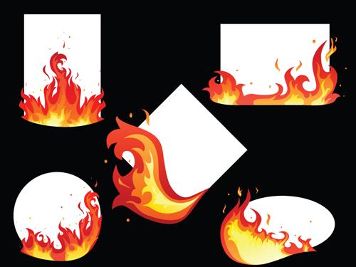 Set of Burning paper vector art 05