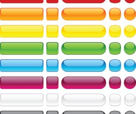 Set of Web Glass Buttons mix vector 05
