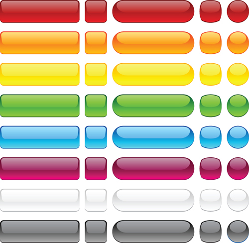 Set of Web Glass Buttons mix vector 05 free download
