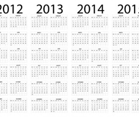 Set of 2013-2018 Calendars template vector graphic 01