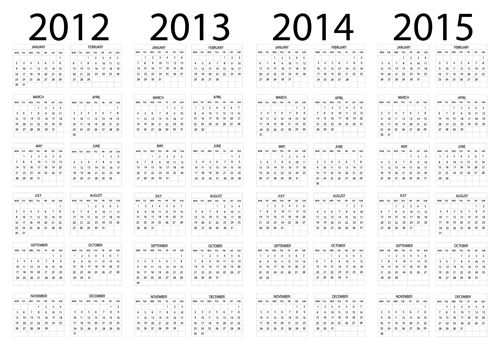 Set of 2013 2018 Calendars template vector graphic 01