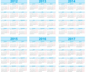 Set of 2013-2018 Calendars template vector graphic 03