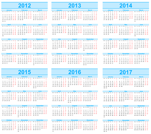 Set of 2013 2018 Calendars template vector graphic 03