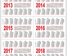 Set of 2013-2018 Calendars template vector graphic 04