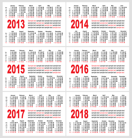 Set of 2013 2018 Calendars template vector graphic 04