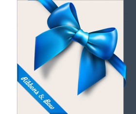 Set of Cards with ribbons and bow vector material 01