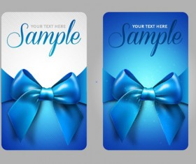 Set of Cards with ribbons and bow vector material 02