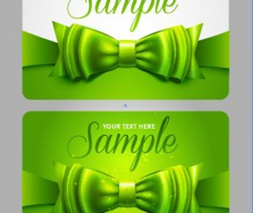 Set of Cards with ribbons and bow vector material 03