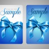 Set of Cards with ribbons and bow vector material 04