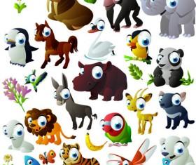 Vivid Cartoon Animals vector material 04