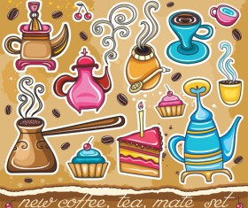 Coffee Object design elements vector material 04