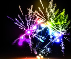 Colorful Fireworks design vector set 02