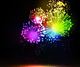Colorful Fireworks design vector set 03