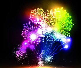 Colorful Fireworks design vector set 04
