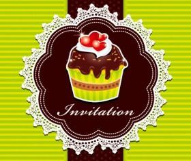 Cute Cupcakes Invitations cards vector set 01